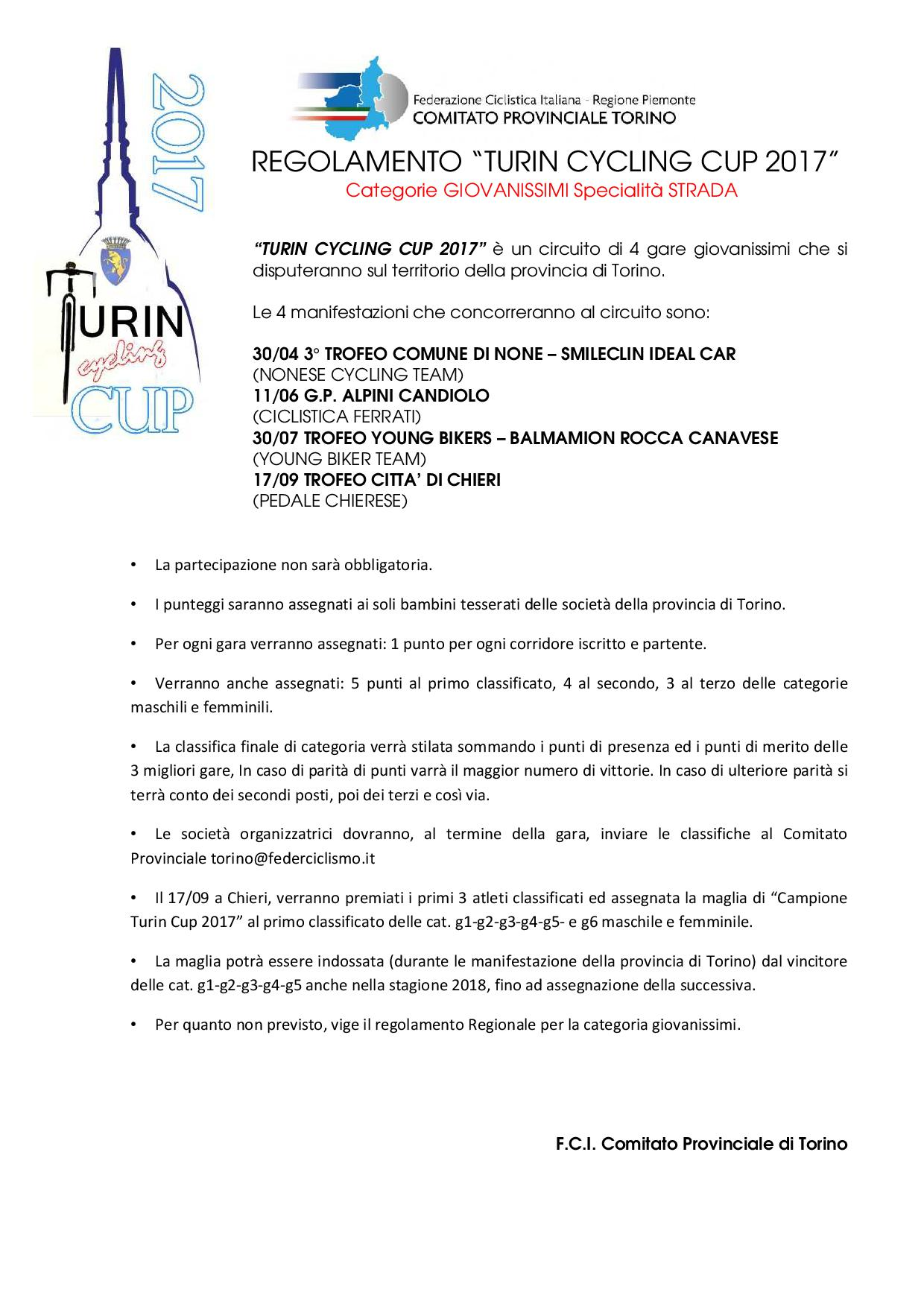 REGOLAMENTO Turin Cycling Cup 2017